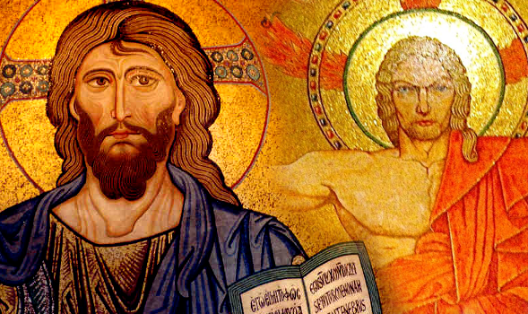 Two icons of Christ, each from a large Cathedral basilica, express the fundamental differences between Eastern and Western Christian Theology.