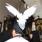 A white dove perches on an Orthodox priest during a visit of the Patriarch of Constantinople