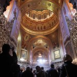 Worshippers attend an Orthodox Easter service conducted by the Patriarch of Moscow and All Russia Kirill in the Christ the Saviour Cathedral in Moscow