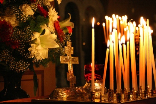 The christmas ceremony in the orthodox Russian Church of Maria Magdalene in the foot of Mount of Olives in Jerusalem